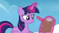 Twilight writing down Sky's poor wind performance S6E24