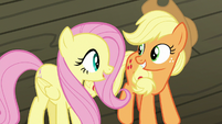 Applejack and Fluttershy impressed by trapeze act S6E20