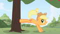 Applejack bucking a tree in opening theme.png