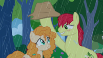 Bright Mac shields Pear Butter from the rain S7E13