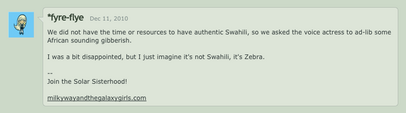 Comment by Lauren Faust describing the language Zecora speaks