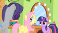 Fluttershy cornered by Rarity and Twilight S01E20.png
