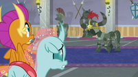 Living armor menaces Smolder and Ocellus S8E15