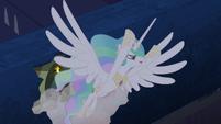 Princess Celestia escaping through roof 2 S4E2
