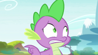 Spike gesturing toward Rarity S4E23