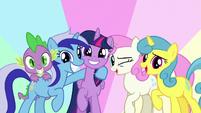 Twilight, Spike, Minuette, Twinkleshine, and Lemon Hearts together S5E12