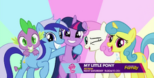 Twilight, Spike, Minuette, Twinkleshine, and Lemon Hearts together S5E12