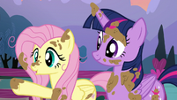 Twilight and Fluttershy covered in mud S5E3
