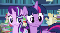 Twilight and Starlight looking over at Spike S7E25