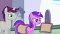 Written Script and Amethyst Star look at Tasty Treat flyer S6E12.png