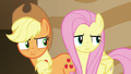 Applejack and Fluttershy look at the source of the voice.png