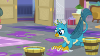 Gallus cleaning the messy floor S8E16