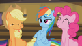 Pinkie Pie and Applejack laughing S4E08.png