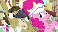 Pinkie Pie appears behind Cranky Doodle MLPS5