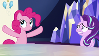 Pinkie Pie pauses in her outburst S6E25