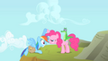Pinkie Pie stares at Rainbow Dash while helping her up S1E25.png