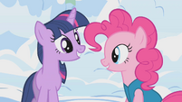 Pinkie asks Twilight if she wants to help S1E11