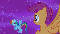 Rainbow gives Scootaloo a look of approval