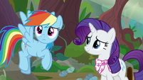 Rarity smiling warmly at Rainbow Dash S8E17