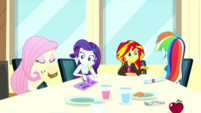 Sunset and friends having lunch together SS14