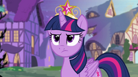 Twilight Sparkle looking at Discord unhappily S04E02