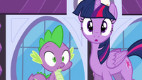 Twilight and Spike surprised S4E1