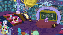 Twilight points out the classroom window S8E22
