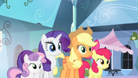 AJ, Bloom, Rarity, and Sweetie staring at Spike S4E24