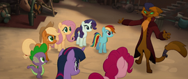 Capper singing to the Mane Six and Spike MLPTM