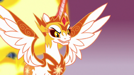 Daybreaker about to finish Nightmare Moon off S7E10