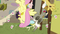 Fluttershy and Discord laughing upside-down S7E12