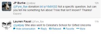 Lauren Faust Twitter Trixie Celestia School of Gifted Unicorns 2013-05-02