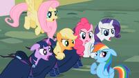 Main cast and Rainbow Dash -a little-!- S02E08