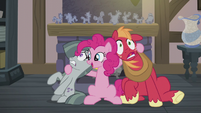 Pinkie with hooves around Mac and Marble S5E20