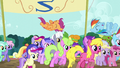 Ponies cheer for Rainbow and Scootaloo S5E17.png