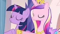 Princess Cadance keeping Twilight Sparkle relaxed S3E12