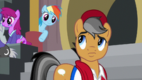 Quibble looking back at Rainbow Dash S9E6