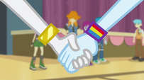 Rainbow Dash takes Rarity's hand EG2