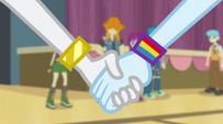 Rainbow Dash takes Rarity's hand EG2