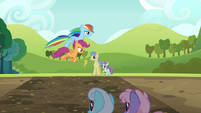 Rainbow and Scootaloo jump the mud puddle S5E17