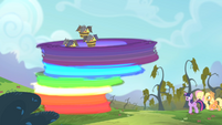 Rainbow transporting the bats onto the tree S4E07