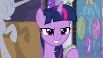 Twilight with a confident grin S9E17