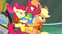 Apple siblings glaring at Granny Smith S4E09