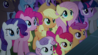 Applejack and friends listen to Rara's speech S5E24