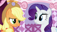 Applejack feeling cheered up by Rarity S7E9