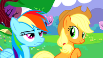 Applejack is impressed, Rainbow Dash is not S02E25