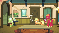 Applejack slams door in Filthy and Spoiled's faces S6E23