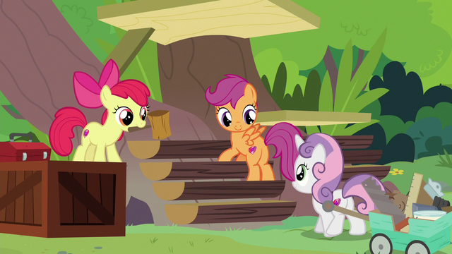 File:Cutie Mark Crusaders help build the sanctuary S7E5.png