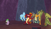 Garble stops Rainbow Dash from taking Netitus S7E25