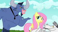 Iron Will scolding Fluttershy about her apologetic ways S02E19